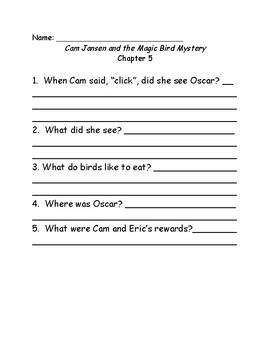 Young Cam Jansen and the magic bird mystery comprehension Questions