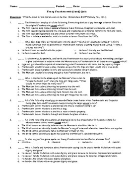 Young Frankenstein Film (1974) 30-Question Matching and Multiple Choice Quiz