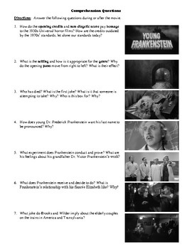 Young Frankenstein Film (1974) Study Guide Movie Packet