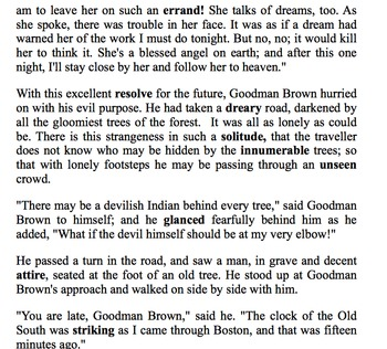 Young Goodman Brown Adapted Text plus Glossary for ELLs and Struggling Readers