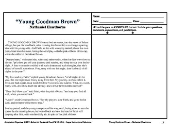 """Young Goodman Brown"" by Nathaniel Hawthorne: Annotation Organizer"