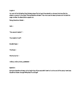 Young Goodman Brown worksheet