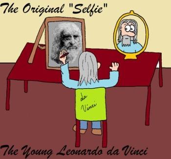 Young Renaissance Thinkers Cartoons - Leonardo Da Vinci - The Original Selfie