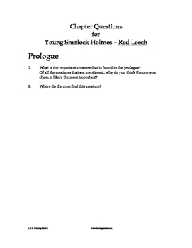 Young Sherlock Holmes - Red Leech chapter questions