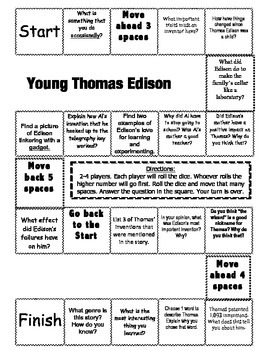 """Young Thomas Edison"" Comprehension Game Board- Journeys story 3rd grade"