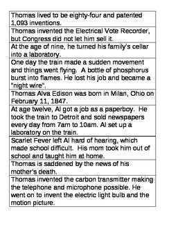 Young Thomas Edison Sequencing Sentences