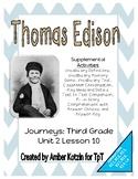 Thomas Edison Supplemental Activities 3rd Grade Journeys Unit 2, Lesson 10