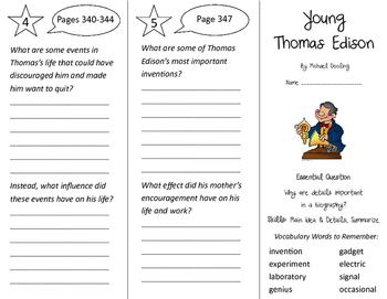 Young Thomas Edison Trifold - Journeys 3rd Grade Unit 2 Week 5 (2011)