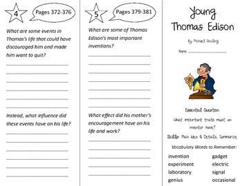 Young Thomas Edison Trifold - Journeys 3rd Grade Unit 2 Week 5 (2014, 2017)