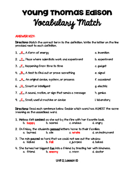 Young Thomas Edison - Vocabulary Study Guide