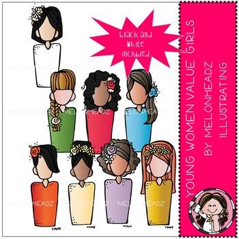 Young Women Value girls clip art - Mini - LDS - Melonheadz Clipart