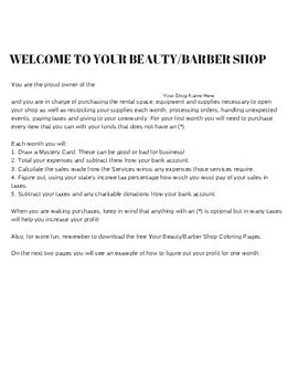 Your Beauty/Barber Shop - Practical Math in Action