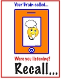 Your Brain Called, Were You Listening? RECALL Art Room Poster and Cue Cards