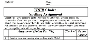 Your Choice Spelling Assignments