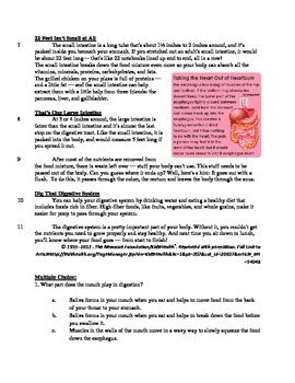 Your Digestive System - Informational Text Test Prep