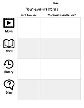Your Favourite Stories Worksheet