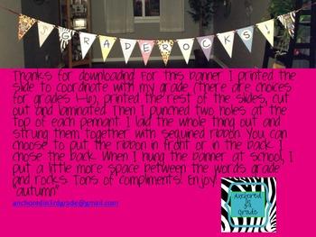 {Your} Grade Rocks Pennant Banner!