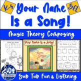 YOUR NAME IS A SONG!  K-5 MUSIC Activities   Theory, Liste