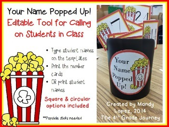 Your Name Popped Up! Editable Tool for Calling on Students