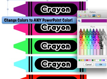 Crayon Theme - Editable Name Plates - Your Name on a Crayon!