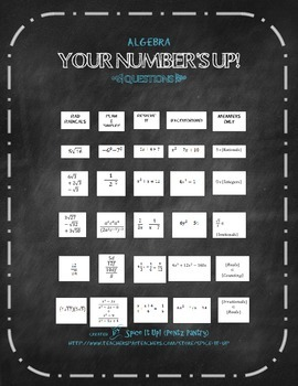 Your Number's Up- Math Game for Algebra
