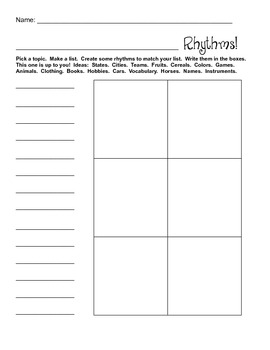 Your Own Favorite Rhythms Worksheet!
