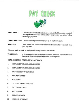 Your Pay Check Lesson