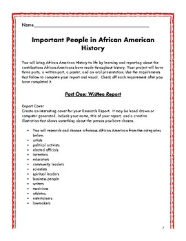 Your Research Report On: Important People in African American History