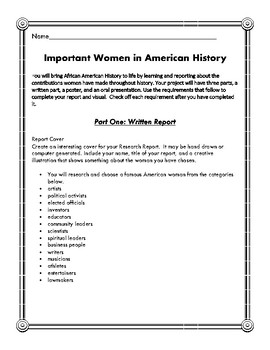 Your Research Report On: Important Women in American History