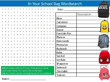 Your School Bag Wordsearch Sheet Starter Activity Keywords Back to School