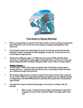 Your Secrets to Staying Motivated - Informational Text Test Prep