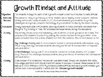 Growth Mindset and Attitude Lesson and Presentation