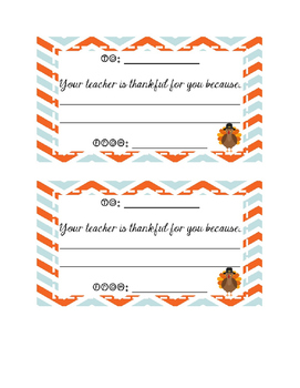 Your Teacher is Thankful for You Because Thanksgiving Freebie