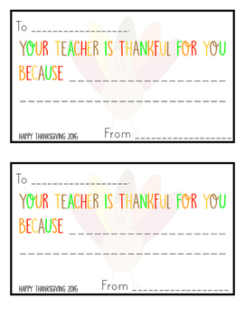 Your Teacher is Thankful for You Cards