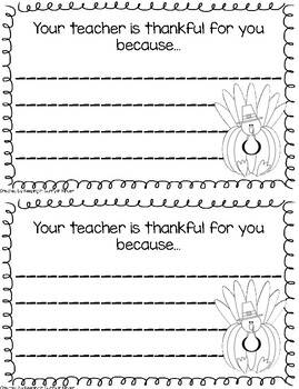 Your Teacher is Thankful for You Note