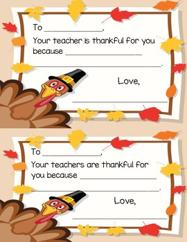 Your Teacher is Thankful for You Student Notes