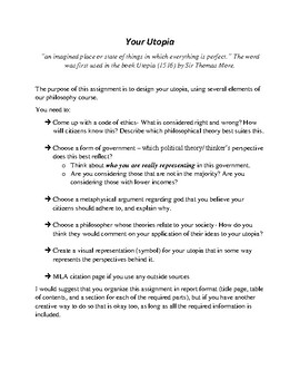 Your Utopia Philosophy Assignment