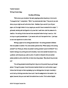 Your Writing Process Essay, Essay Example and Rubric | TpT
