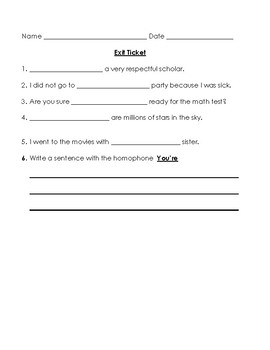 Your You're Lesson Worksheets