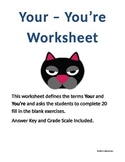 Your - You're Worksheet for Grades 6-9