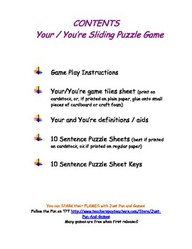 Your You're Sliding Puzzle Game - Fun with Homophones!