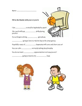 Your/ You're Worksheet Basketball theme
