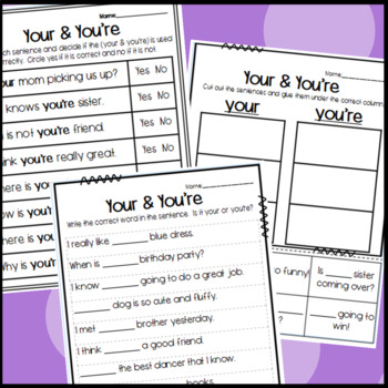 Your and You're Homophone Worksheets