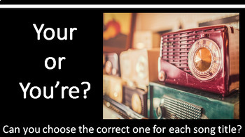 Your and You're Practice #2--A Song Title PowerPoint