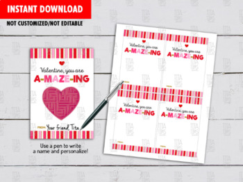 Your are A-MAZE-ING, Maze Puzzle DIY Card, Non Candy Gift Exchange Tag