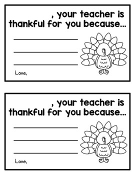 Your teacher is thankful for you because (student certificates for Thanksgiving)
