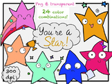 You're A Star - Rainbow Stars Clip Art (line art included)