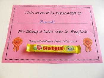 You're A Star Reward Certificate