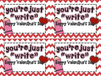 """""""You're Just Write!"""" - Cute and Simple Teacher Valentines"""