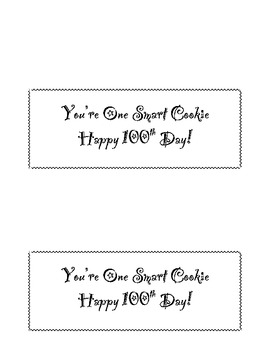 You're One Smart Cookie - 100th Day Baggie Topper